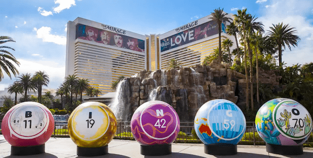 5 colourful 200lb Bingo Balls in front of the Mirage Hotel and Casino