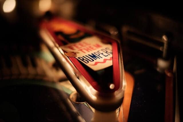 Close up shot of a pinball bumper lit up