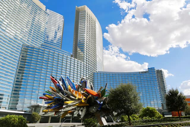 Multicoloured spiked Fire art sculputre at the front of Aria Resort and Casino