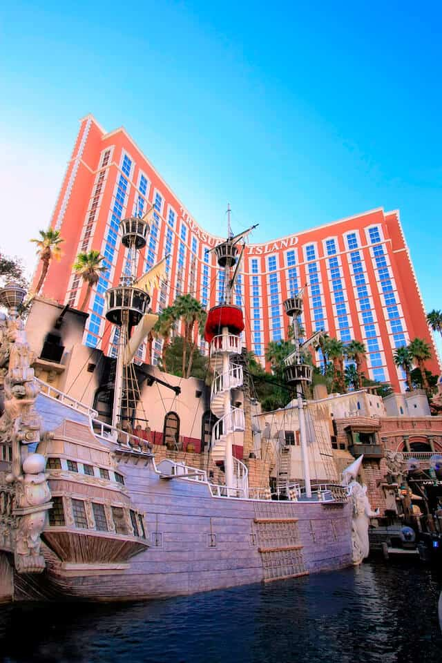 Pirate ship stage of the Sirrens Show in front of Treasure Island Hotel & Casino