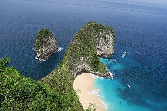 Aerial view of T-Rex Beach on Nusa Penida Island in Bali