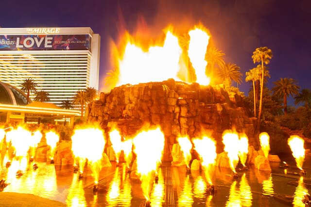 Volcano at the Mirage with flames rising from its center