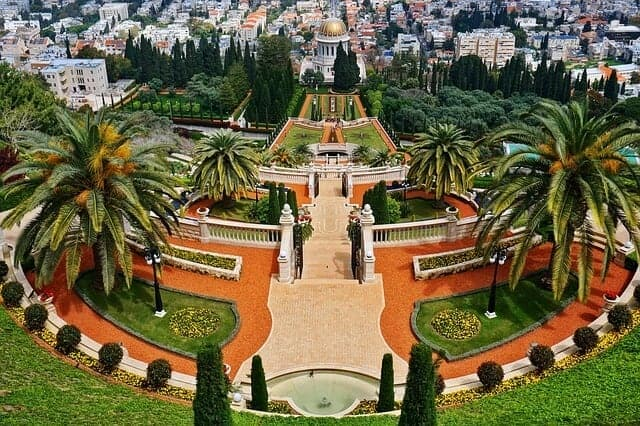 Looking down the steps through the center of the Baha'i Gardens in Haifa