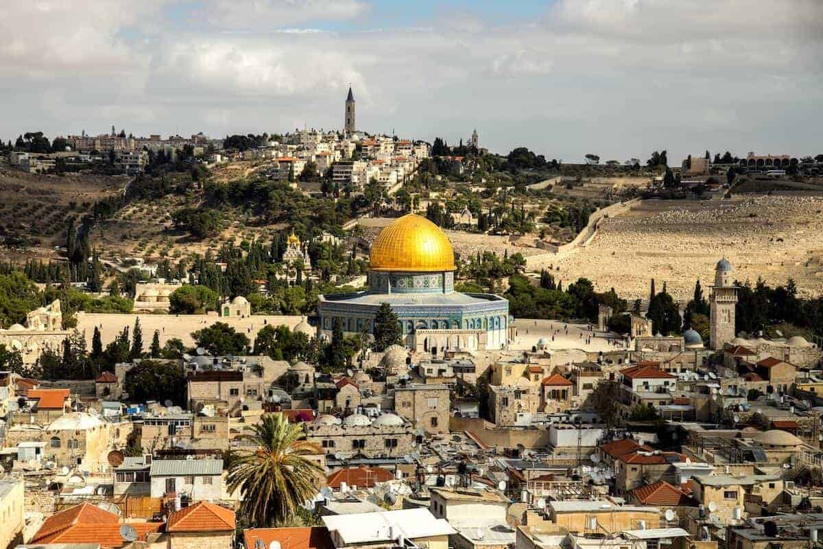 Aerial photo of Dome of the Rock, Temple Mount and the holy city of Jerusalem - cover phot for 30 Things to do in Jerusalem + Day Trips from Jerusalem