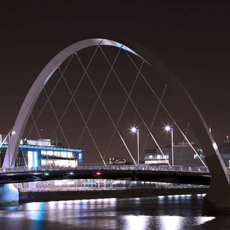 White bridge at night