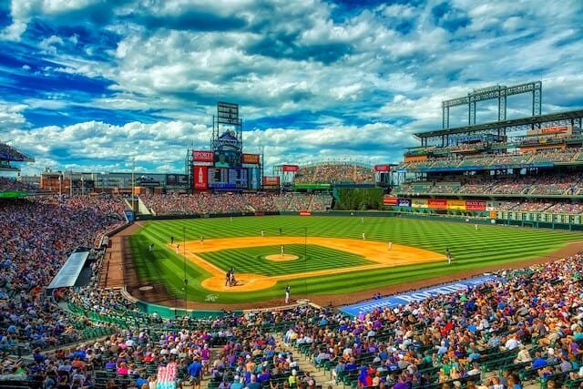 Coors Field with dramatic clouds in the sky