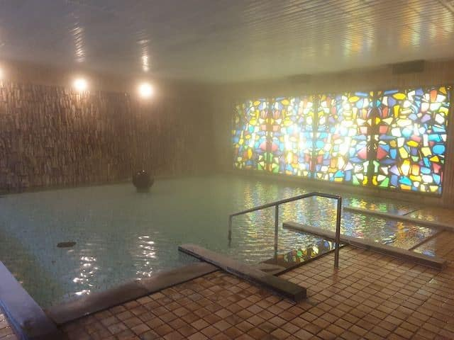 Hotel Onsen with Stained Glass Window