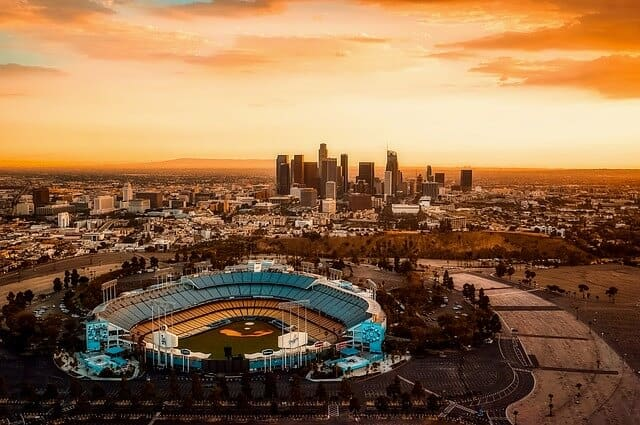 Los Angeles city skyline from above