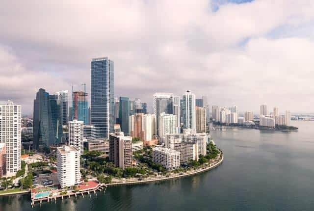 Miami Florida high rise buildings next to the river