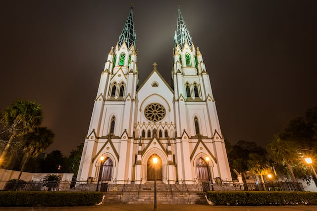 The Cathedral of St, John the Baptist Church at Night in Savannah, Georgia