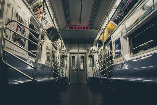 Empty subway car in New York
