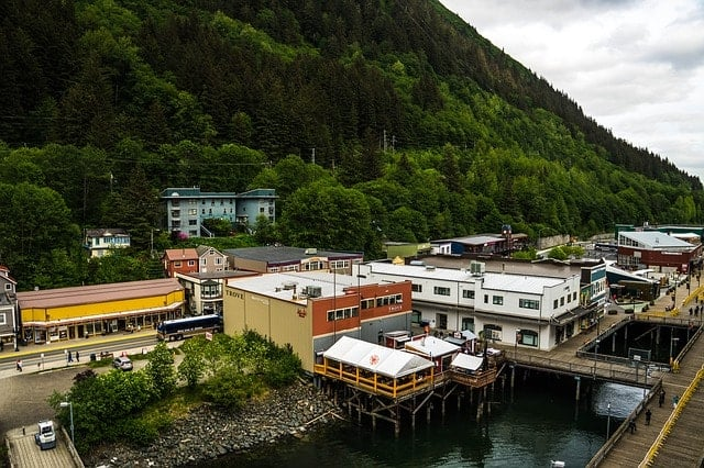 Aerial photo of Juneau Historic Downtown