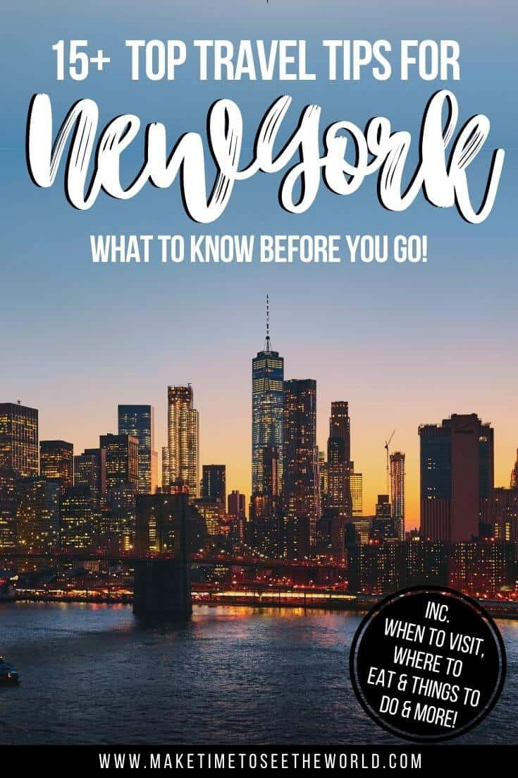 New York Skyline at dusk with text overlay stating 15+ Top New York Tips: What to Know Before You Go