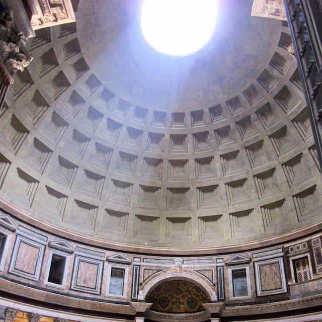 Looking up at the eye of the Pantheon In Rome, Italy