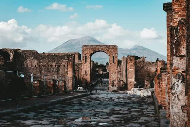 Ruins of buildings at Pompeii Italy