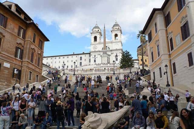 Spanish Steps in rome covered in crowds of people