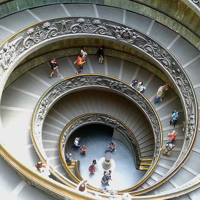 Double Helix Bramante Staircase from above in the Vatican Museums