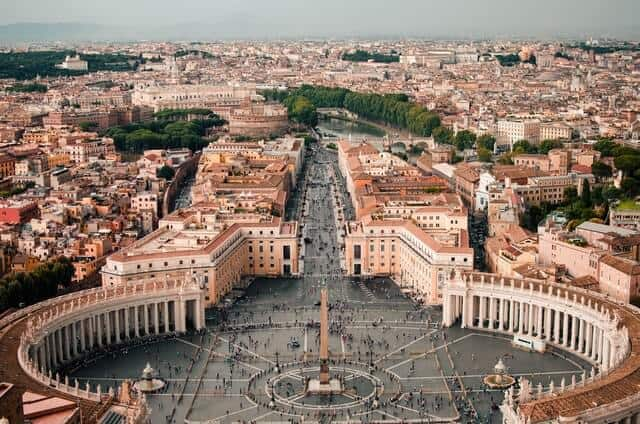 Vatican City From Above from the dome of St Peters Bascilica