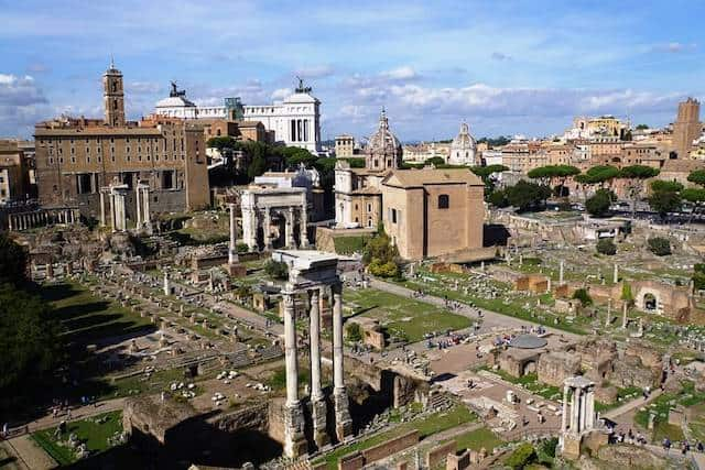 view of Roman Forum from Palatine Hill