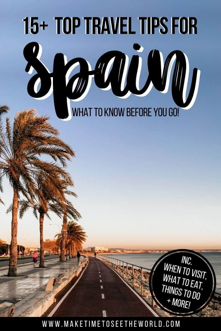 Pin image for 15+ Travel Tips for Spain featuring the ocean bordering a walkway fringed with palm trees