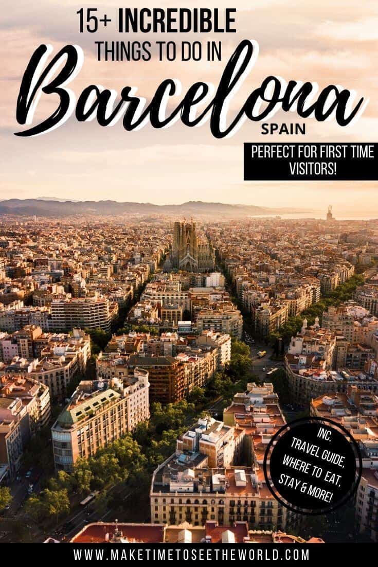 Pin Image for BEST Places to visit in Barcelona for First Time Visitors featuring an aerial view of Barcelona looking towards the Sagrada Familia bathed in sunset.