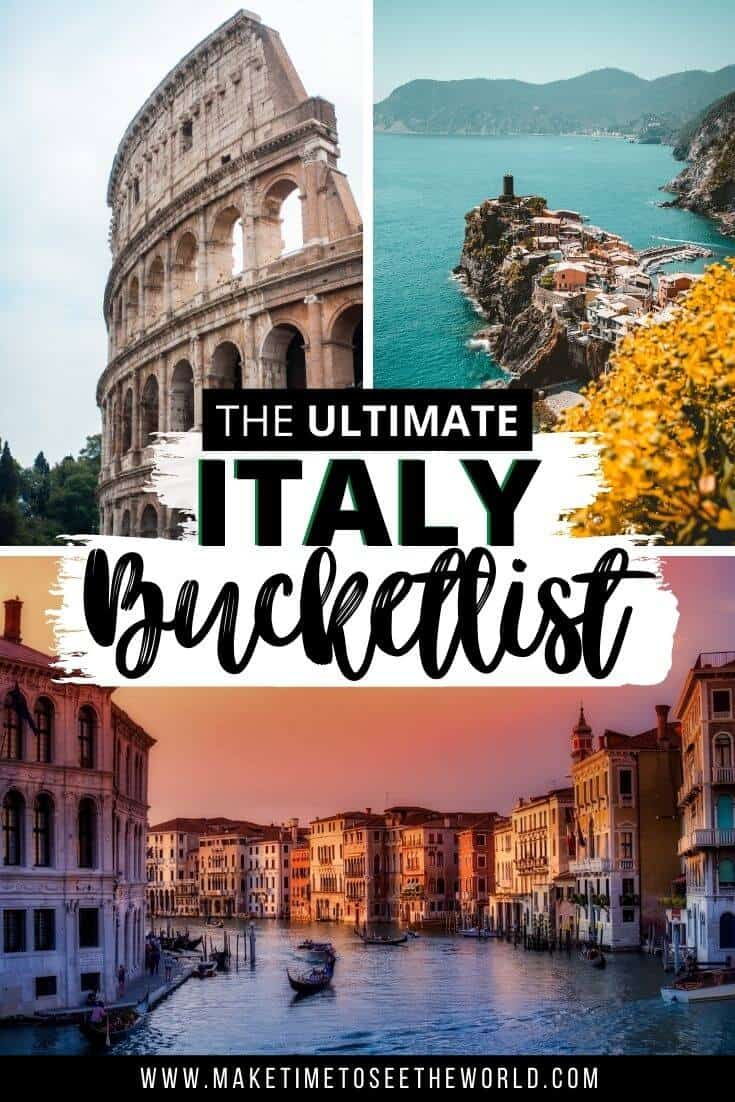 Best Places to Visit in Italy - Italy Bucketlist pin image featuring two verical images at the top of the Colusseum and Amalfi Coast with a horiontal image of Venice at the bottom