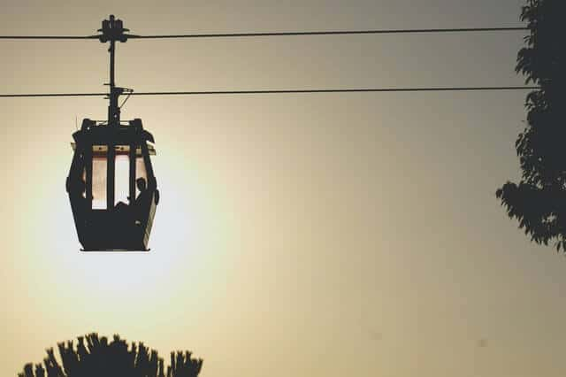 Cable Car above a plam tree backed by sunset in Barcelona