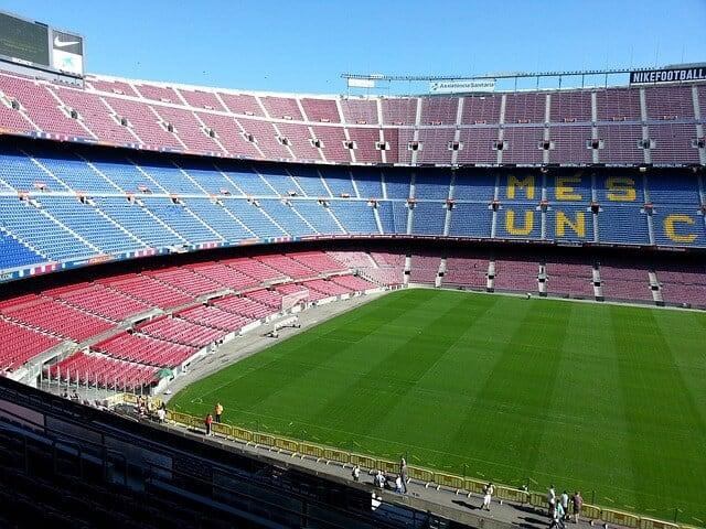 Inside an empty Camp Nou Stadium in Barcelona