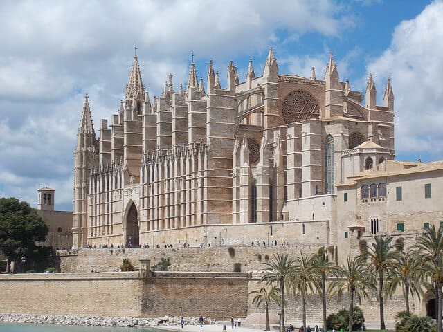 Impressive facade of the white Cathedral Of Saint Mary in Palma Mallorca