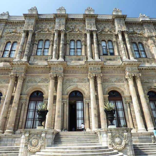 Impressive 7 story high facade of the white Dolmabahce Palace Istandbul Turkey