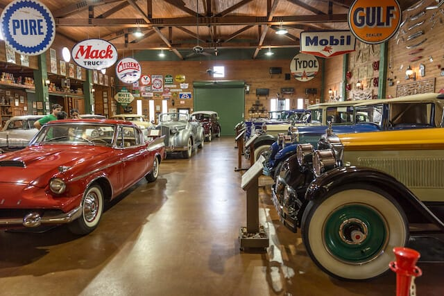 Inside the display hall at Ft Lauderdale Antique Car Museum