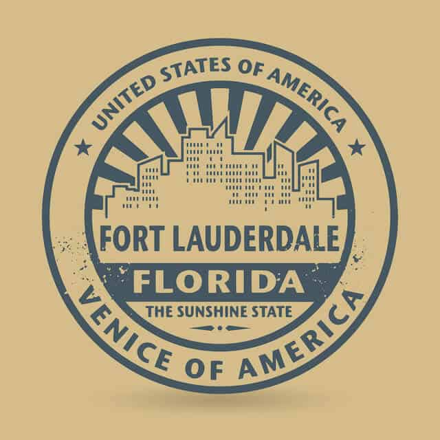 Blue Fort Lauderdale Stamp with city outline on a Beige background