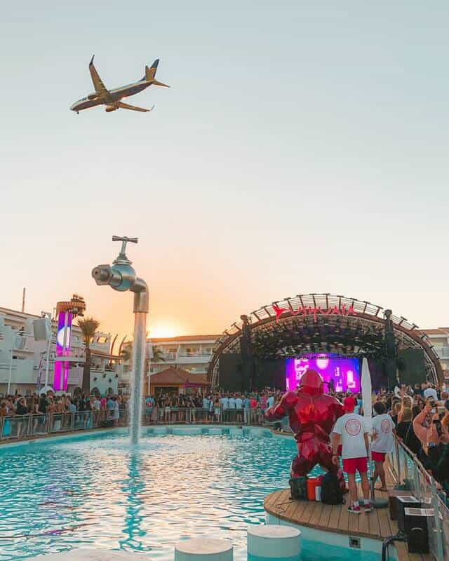 Pool Party scene at sunset in Ibiza