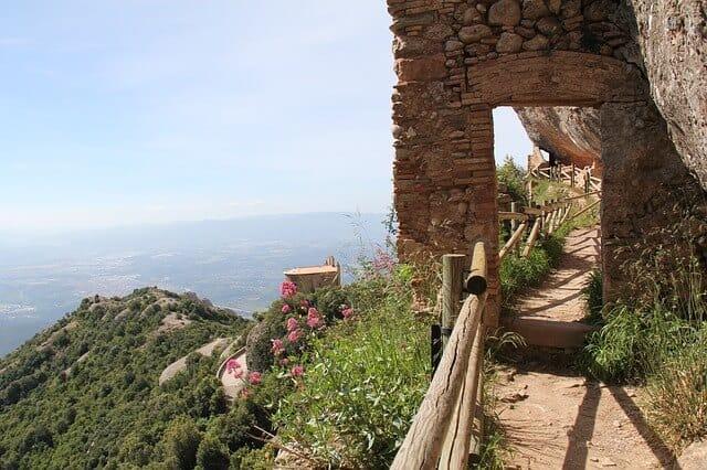 Walkway along the cliffside at Montserrat