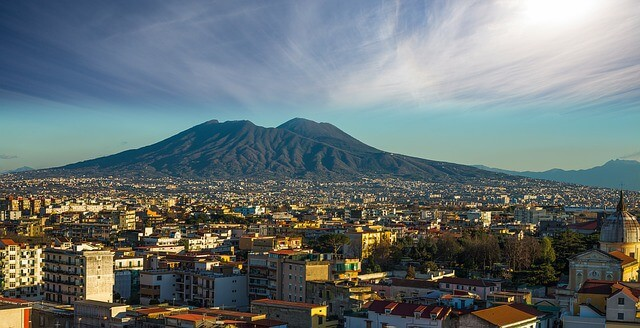 Vast metropolis of Naples with Mount Vesuvius in the background