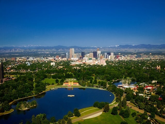 Sloan Lake from Aboe with Denver City in the background and the Rock Mountains in the distance behind the city