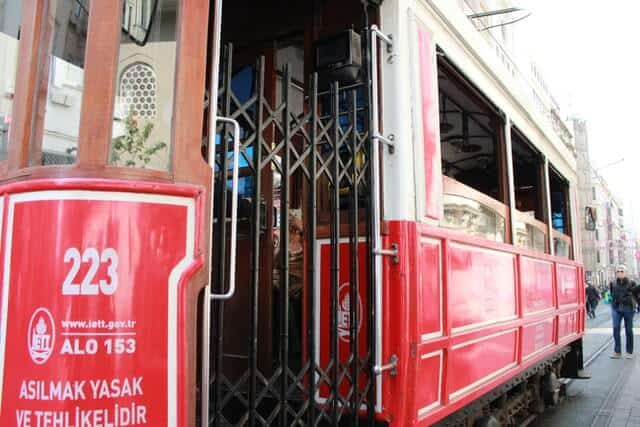 Close up shot of the traditional Red Tram with the door open in Istanbul