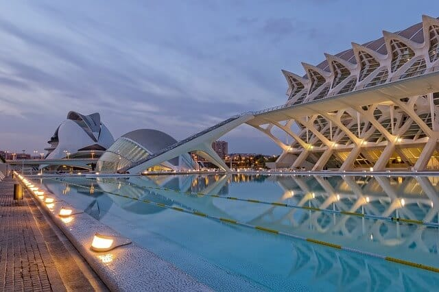 Steel and water art installation in Valencia Spain