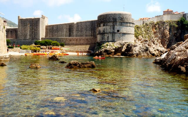 St John Fortress with the shallow ocean in the foreground