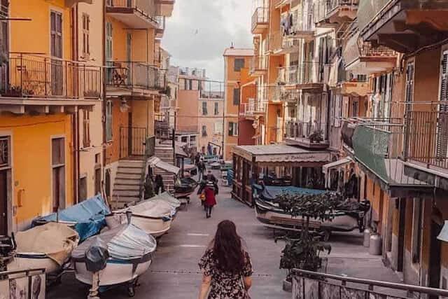 Narrow cobbled streets of Cinque Terre