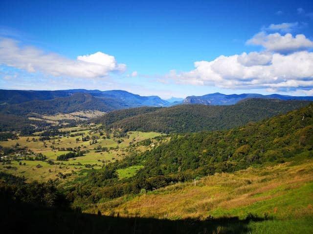 Green rolling hills of Lamington National Park near Brisbane