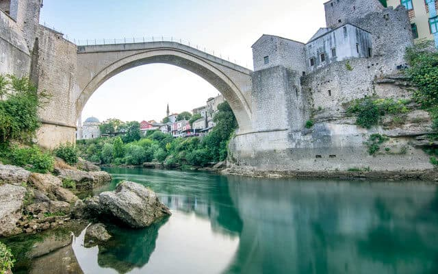 Domed Bridge across the river in Mostar