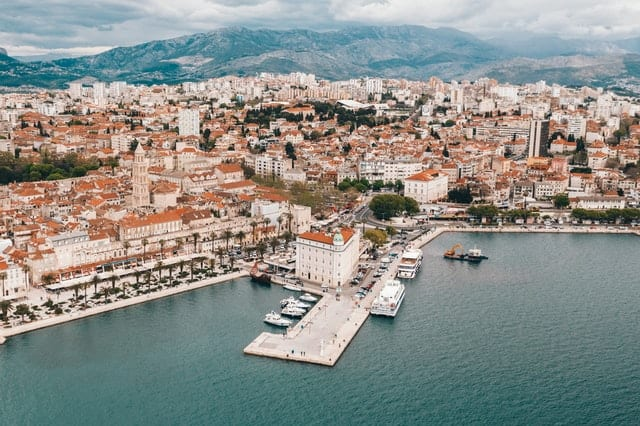 Aerial view of the port city of Split, Croatia