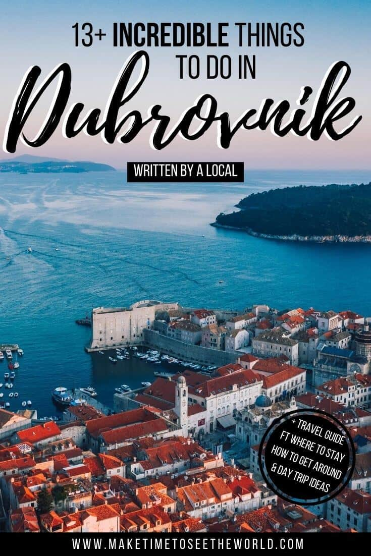 Incredible Things to do in Dubrovnik Pin Image featuring an aerial view of Dubrovnik harbour with Lokum Island in the background