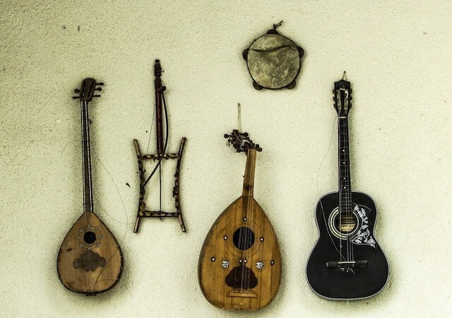 Musical instruments on the wall in the Muscial Instrument Museum in Phoenix Arizona