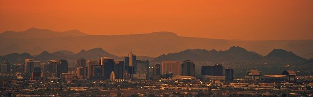 Phoenix Arizona covered in a red desert haze