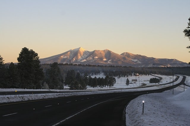 San Francisco Peaks at sunset from the road in Phoenix Arizona