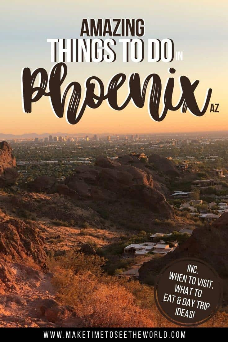 Things to do in Phoenix Arizona Pin Image of Phoenix in the distance from the top of a mountain
