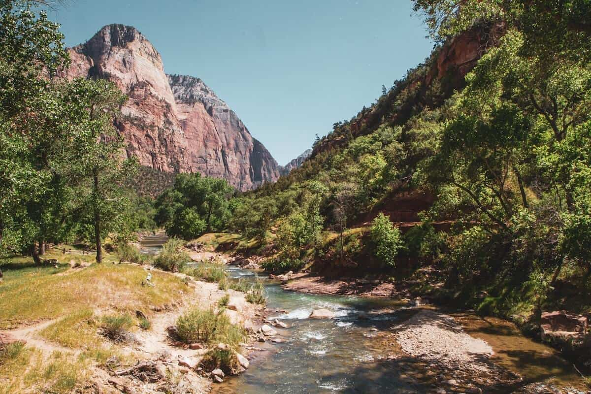 Best Things to do in Zion National Park cover photo of the river running through the valley of Zion NP