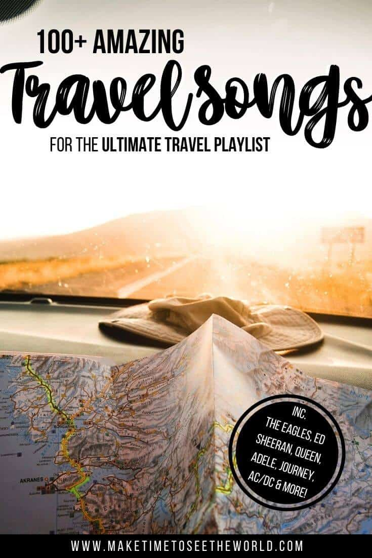 "Pinterest image of a map on a dashboard on a car driving into the sunset with text overlay staying ""100+ Best Travel Songs for your Travel Playlist"""